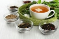 Картинка листья, чай, баночки, чашка, заварка, жасмин