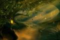 Картинка лес, качели, деревья, арт, ночь, сказочно