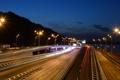 Картинка дорога, ночь, огни, Украина, Киев, светильники