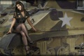 Картинка девушка, танк, girl, танки, WoT, Мир танков, tank