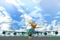 Картинка небо, девушка, облака, самолет, флаг, арт, vocaloid