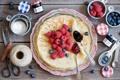 Картинка джем, ягоды, натюрморт, малина, блины, черника, ножницы