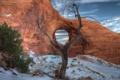 Картинка Snow, Arch, Earwind, Arizona, Monument Valley