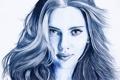 Картинка взгляд, лицо, волосы, портрет, актриса, Scarlett Johansson, карандаш