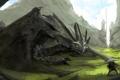 Картинка скалы, дракон, воин, арт, рыцарь