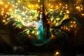 Картинка девушка, свет, огни, голая, крылья, двери, маска