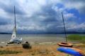Картинка облака, небо, пасмурно, паруса, Чехия, Lipno Lake, озеро