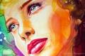 Картинка Christina Papagianni, девушка, красные губы, макияж, крупным планом, лицо, краски