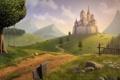 Картинка пейзаж, горы, замок, качели, дерево, ромашки, ограда