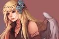 Картинка девушка, украшения, розы, крылья, ангел, арт, блондинка