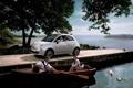 Картинка море, машина, деревья, лодка, причал, пара, fiat