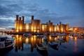 Картинка отражение, Англия, бухта, яхты, лодки, England, Caernarfon Castle