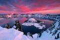 Картинка закат, облака, небо, озеро, зарево, остров, горы