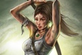 Картинка лук, повязка, Tomb raider, девушка, майка, lara croft, лицо