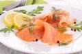 Картинка зелень, лимон, рыба, lemon, ломтики, fish, лосось