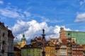 Картинка облака, небо, колонна Сигизмунда, Варшава, Польша, городской пейзаж, крыша