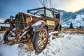 Картинка glass, wood, snow, left, rust, old car