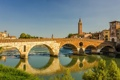 Картинка река Адидже, Верона, небо, дома, Италия, мост, башня