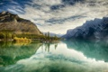 Картинка осень, деревья, пейзаж, горы, озеро, остров, Канада