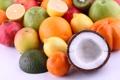 Картинка яблоки, кокос, апельсины, киви, фрукты, лимоны, гранаты
