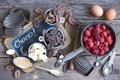 Картинка ягоды, малина, шоколад, яйца, натюрморт