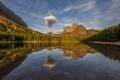 Картинка закат, облака, деревья, небо, горы, отражение, озеро