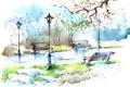 Картинка листья, деревья, парк, улица, фонари, дорожка, живопись