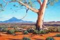 Картинка дерево, гора, холм, арт, кусты, австралия, artsaus