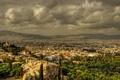 Картинка деревья, пейзаж, горы, тучи, дома, Греция, панорама