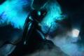 Картинка туман, скалы, луна, камень, темно, крылья, меч