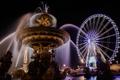 Картинка ночь, огни, Франция, Париж, колесо обозрения, фонтан, Площадь Согласия