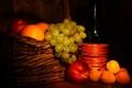 Картинка бутылка, фрукты, виноград, персики, абрикосы