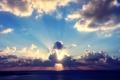 Картинка море, солнце, облака, закат, тучи, солнечные лучи