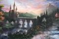 Картинка дорога, деревья, пейзаж, цветы, горы, мост, замок