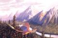 Картинка лес, полет, горы, река, драконы, арт, в небе