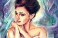 Картинка девушка, арт, лебедь, белое платье, задумчивая