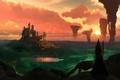 Картинка небо, облака, пейзаж, закат, замок, фэнтези, ведьма