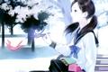 Картинка девушка, деревья, природа, аниме, арт, лавка, профиль