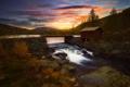Картинка закат, река, дом