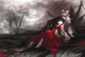 Картинка девушки, луна, аниме, развалины, бант, Touhou