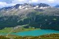 Картинка небо, облака, горы, озеро, дома, долина, поселок