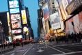 Картинка дорога, город, огни, люди, улица, дома, реклама
