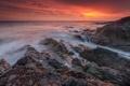 Картинка небо, природа, камни, океан, скалы, рассвет, берег