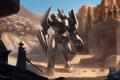 Картинка горы, металл, скалы, пустыня, робот, меч, воин