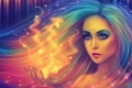 Картинка взгляд, девушка, лицо, пламя, магия, волосы, огоньки