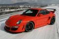 Картинка зима, красный, 911, porsche, turbo s