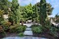 Картинка деревья, цветы, дорожки, кресло, подушки, сад, кусты