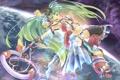 Картинка девушка, космос, звезды, земля, vocaloid, Hatsune Miku, вокалоид