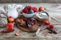 Картинка клубок, молоко, натюрморт, персики, джем, мука, красная смородина