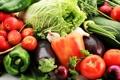 Картинка зелень, яблоки, лук, баклажаны, перец, фрукты, овощи